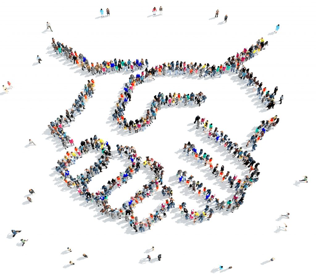 A large group of people in the shape of a handshake, partnership, icon, isolated on white background, 3D illustration.